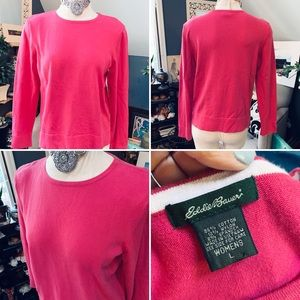 EDDIE BAUER Sweater Hot Pink Sz Lg Cotton Blend